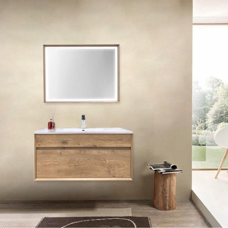 Mobile da bagno sospeso Olmo cm 80 Completo di Specchio Luce Led serie Trevi
