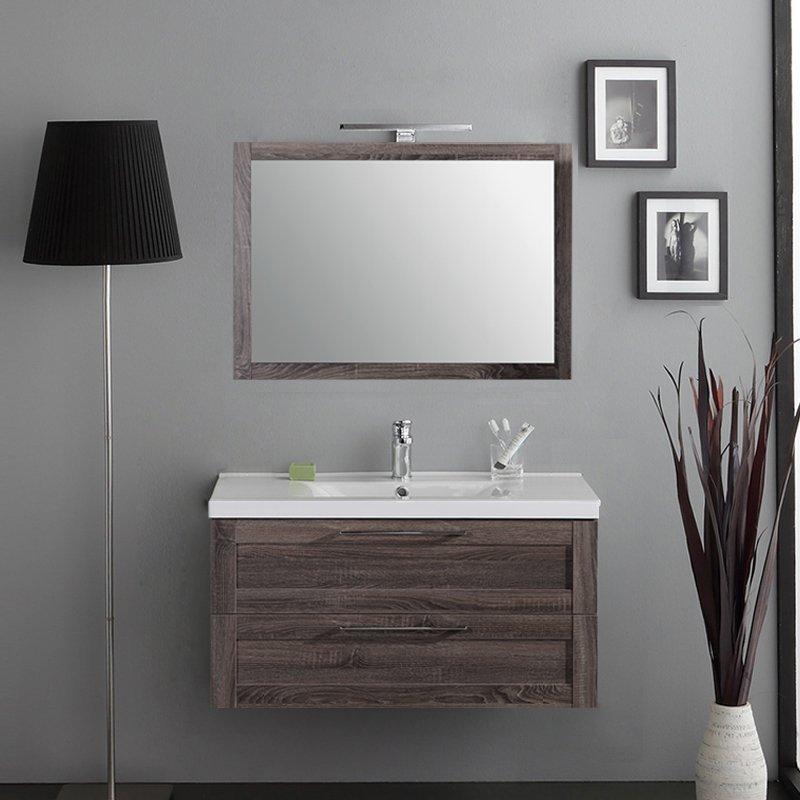 Mobile Specchio Da Bagno.Sospesi Da 80 A 100 Mobile Da Bagno Sospeso Rovere Grey Cm 100